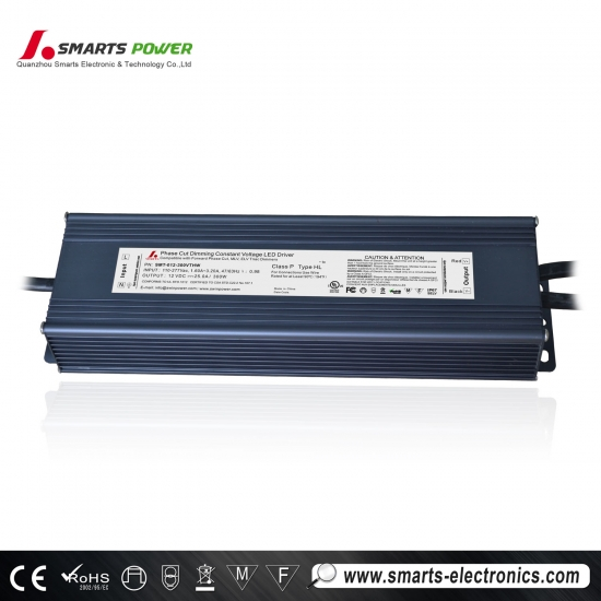 ul / cul enumeró 12v 300w triac regulable led controladores para tira de led