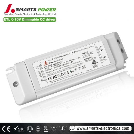 500ma 20w 0-10v / pwm controlador led regulable