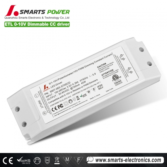 700ma 45w 0-10v / pwm controlador led regulable
