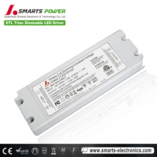 Etl listado triac dimmable 24v 48w led driver